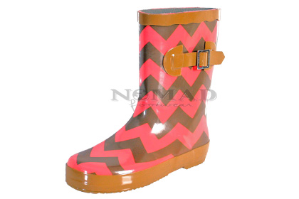 Ms Puddles II - Brown/Coral Chevron