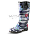 View detail information about 'Puddles - Navy Stripes with Roses' - Boots